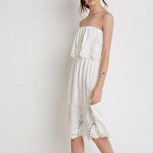 NWT FOREVER 21 WHITE LACE STRAPLESS LAYERED DRESS